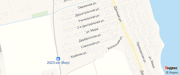 Дербентская улица на карте села Хазара с номерами домов