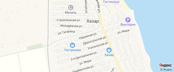 Овражная улица на карте села Хазара Дагестана с номерами домов