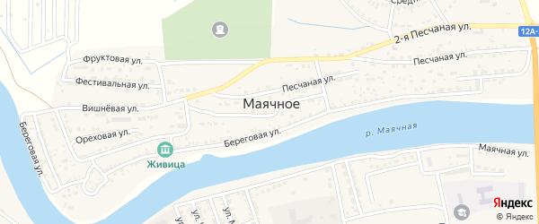 Приволжская улица на карте Маячного села Астраханской области с номерами домов
