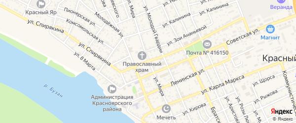 Улица Мира на карте села Красного Яра Астраханской области с номерами домов