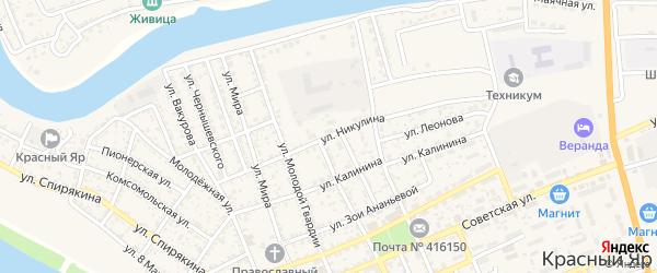 Улица Никулина на карте села Красного Яра Астраханской области с номерами домов