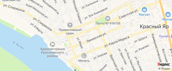 Улица Молодой Гвардии на карте села Красного Яра Астраханской области с номерами домов