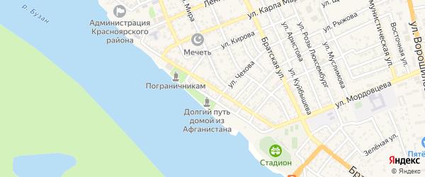 Улица Максима Горького на карте села Красного Яра Астраханской области с номерами домов