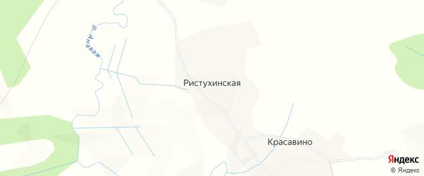 Карта Ристухинской деревни в Архангельской области с улицами и номерами домов