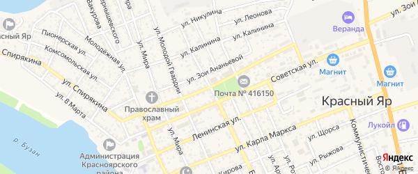 Улица Генерала Тутаринова на карте села Красного Яра Астраханской области с номерами домов