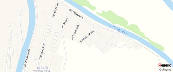 Сельская улица на карте села Тузуклей Астраханской области с номерами домов