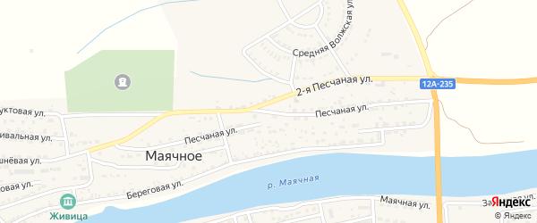 Песчаная улица на карте Маячного села Астраханской области с номерами домов