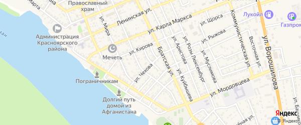 Переулок Сергея Лазо на карте села Красного Яра Астраханской области с номерами домов