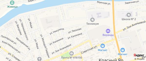 Улица Леонова на карте села Красного Яра Астраханской области с номерами домов