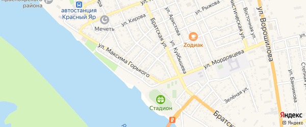 Перевозная улица на карте села Красного Яра Астраханской области с номерами домов