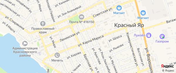 Улица Аристова на карте села Красного Яра Астраханской области с номерами домов
