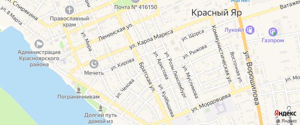 Улица Куйбышева на карте села Красного Яра Астраханской области с номерами домов