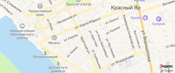 Дорога Куйбышева на карте села Красного Яра Астраханской области с номерами домов