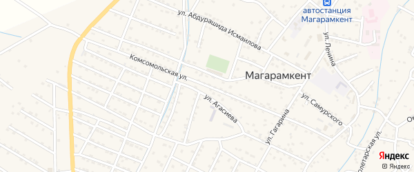 Комсомольская улица на карте села Магарамкента Дагестана с номерами домов