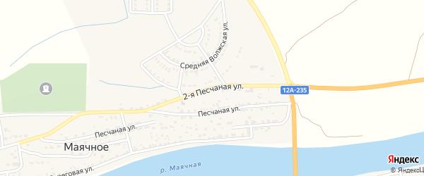 Песчаная 2-я улица на карте Маячного села Астраханской области с номерами домов
