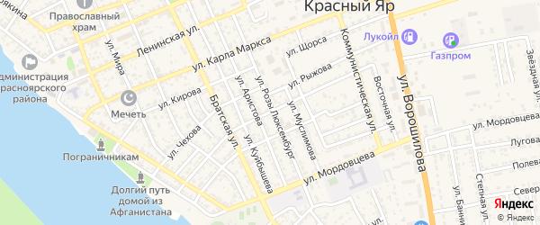 Улица Красного Октября на карте села Красного Яра Астраханской области с номерами домов