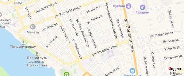 Улица Муслимова на карте села Красного Яра Астраханской области с номерами домов