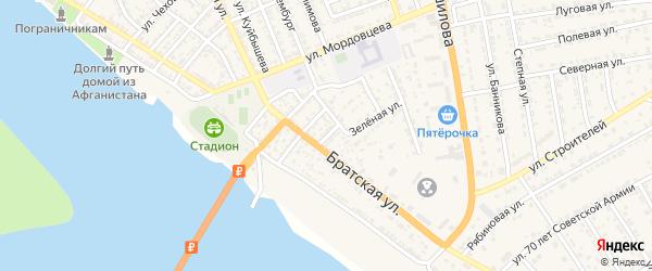 Каспийская улица на карте села Красного Яра Астраханской области с номерами домов