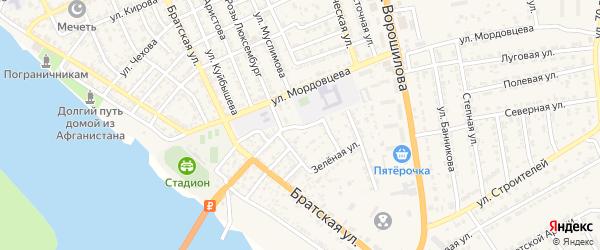 Улица Пархоменко на карте села Красного Яра Астраханской области с номерами домов