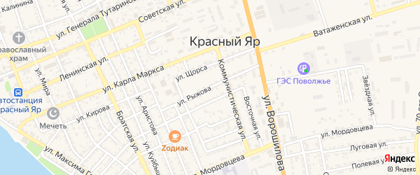 Улица Рыжова на карте села Красного Яра Астраханской области с номерами домов