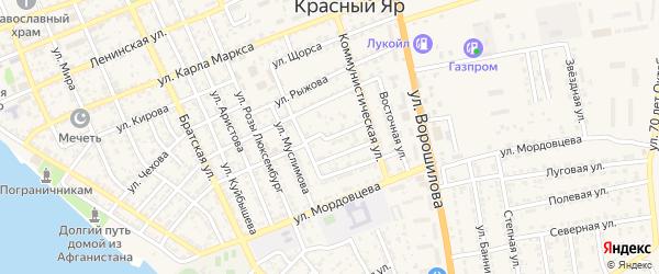 Тихий переулок на карте села Красного Яра Астраханской области с номерами домов