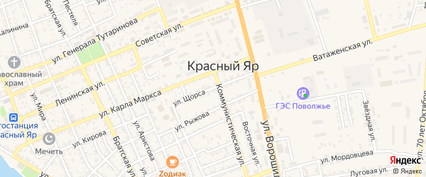 Улица Щорса на карте села Красного Яра Астраханской области с номерами домов