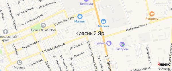Улица Карла Маркса на карте села Красного Яра с номерами домов