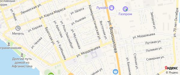 Новый переулок на карте села Красного Яра Астраханской области с номерами домов