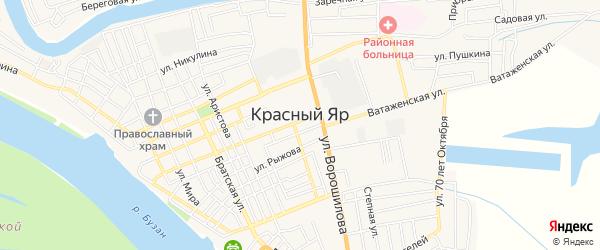 Карта села Красного Яра в Астраханской области с улицами и номерами домов