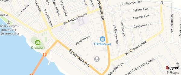 Улица Зои Космодемьянской на карте села Красного Яра Астраханской области с номерами домов