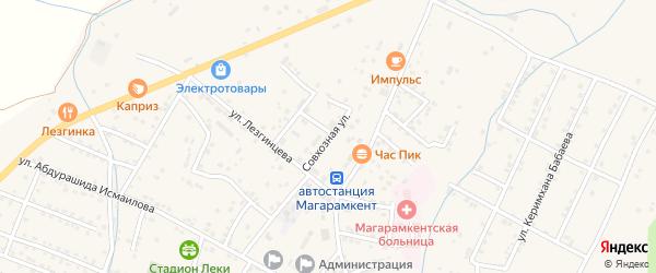Совхозная улица на карте села Магарамкента Дагестана с номерами домов