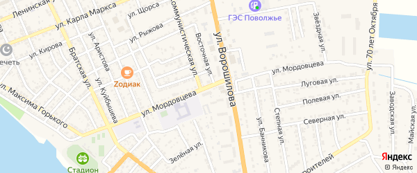 Улица Мордовцева на карте села Красного Яра Астраханской области с номерами домов