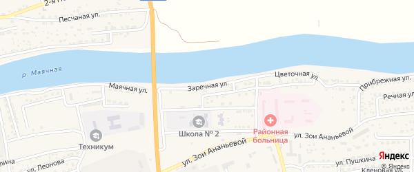 Заречная улица на карте села Красного Яра Астраханской области с номерами домов