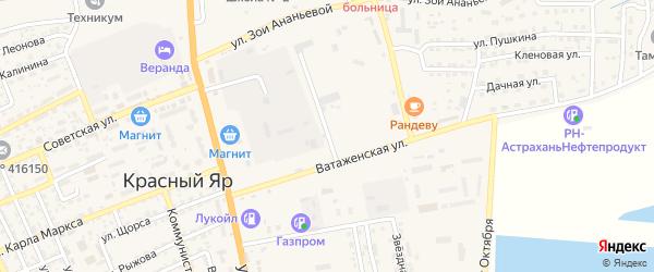 Рождественская улица на карте села Красного Яра Астраханской области с номерами домов