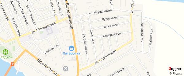 Степная улица на карте села Красного Яра Астраханской области с номерами домов
