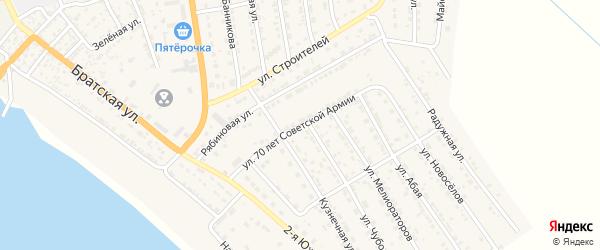Улица 70 лет Советской Армии на карте села Красного Яра Астраханской области с номерами домов