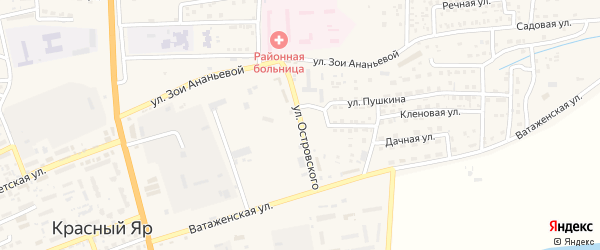Улица Николая Островского на карте села Красного Яра Астраханской области с номерами домов