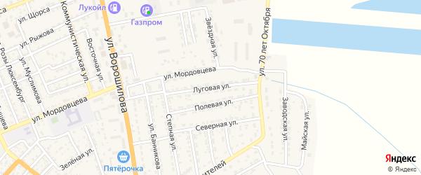 Луговая улица на карте села Красного Яра Астраханской области с номерами домов