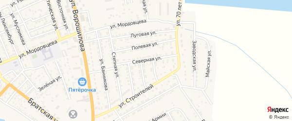Северная улица на карте села Красного Яра Астраханской области с номерами домов