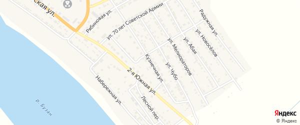 Кузнечная улица на карте села Красного Яра Астраханской области с номерами домов