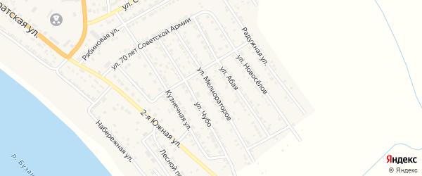 Улица Мелиораторов на карте села Красного Яра Астраханской области с номерами домов