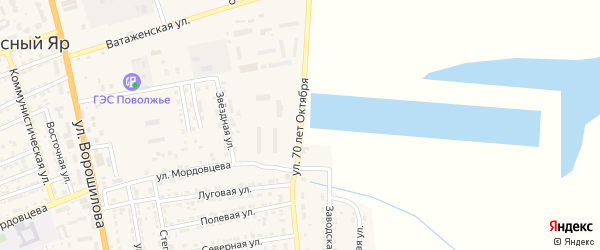 Улица 70 лет Октября на карте села Красного Яра Астраханской области с номерами домов