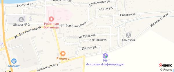 Улица Пушкина на карте села Красного Яра Астраханской области с номерами домов