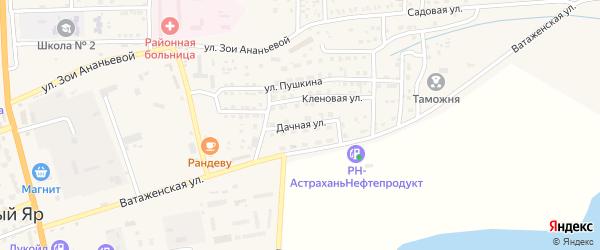 Дачная улица на карте села Красного Яра Астраханской области с номерами домов