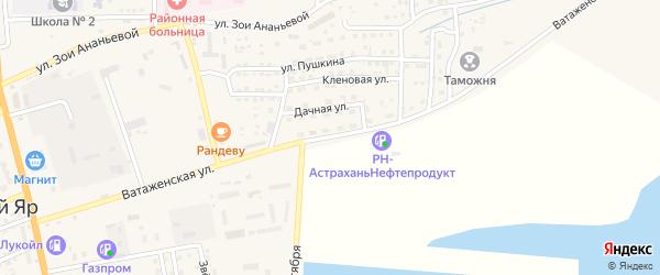 Ватаженская дорога на карте села Красного Яра Астраханской области с номерами домов
