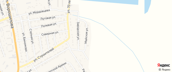 Майская улица на карте села Красного Яра Астраханской области с номерами домов