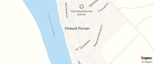 Солнечная улица на карте села Нового Рычан с номерами домов