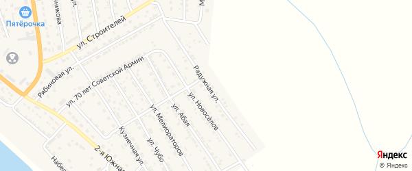 Радужная улица на карте села Красного Яра Астраханской области с номерами домов