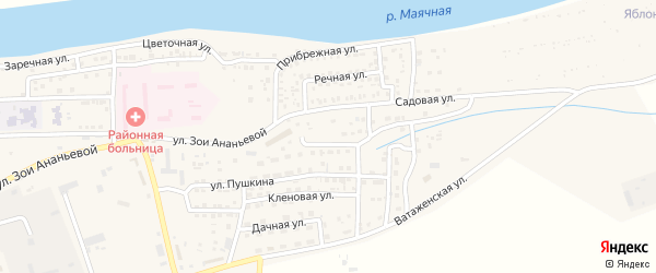 Сиреневая улица на карте села Красного Яра Астраханской области с номерами домов