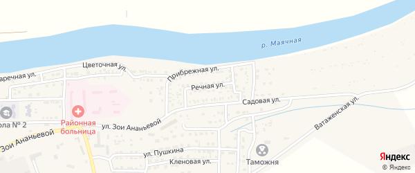 Речная улица на карте села Красного Яра Астраханской области с номерами домов